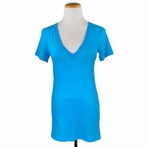 PINK VS Blue Deep V-Neck Short Sleeve Sleep Tee
